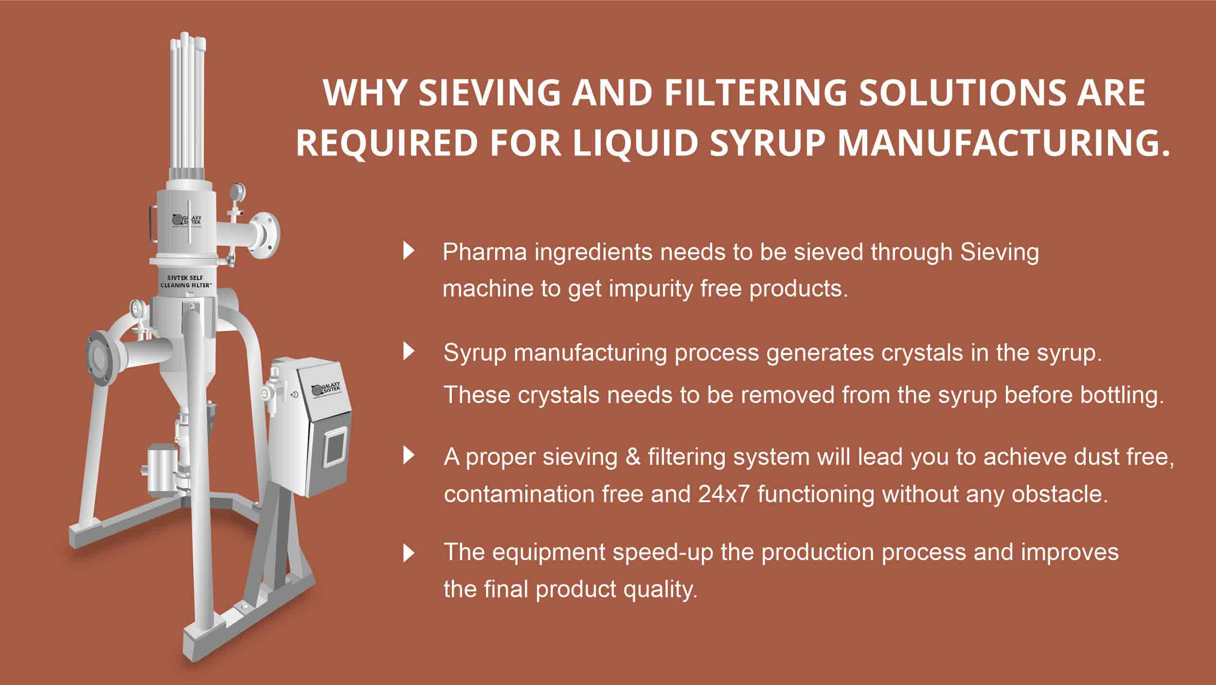 sieving filtering system for pharma syrup