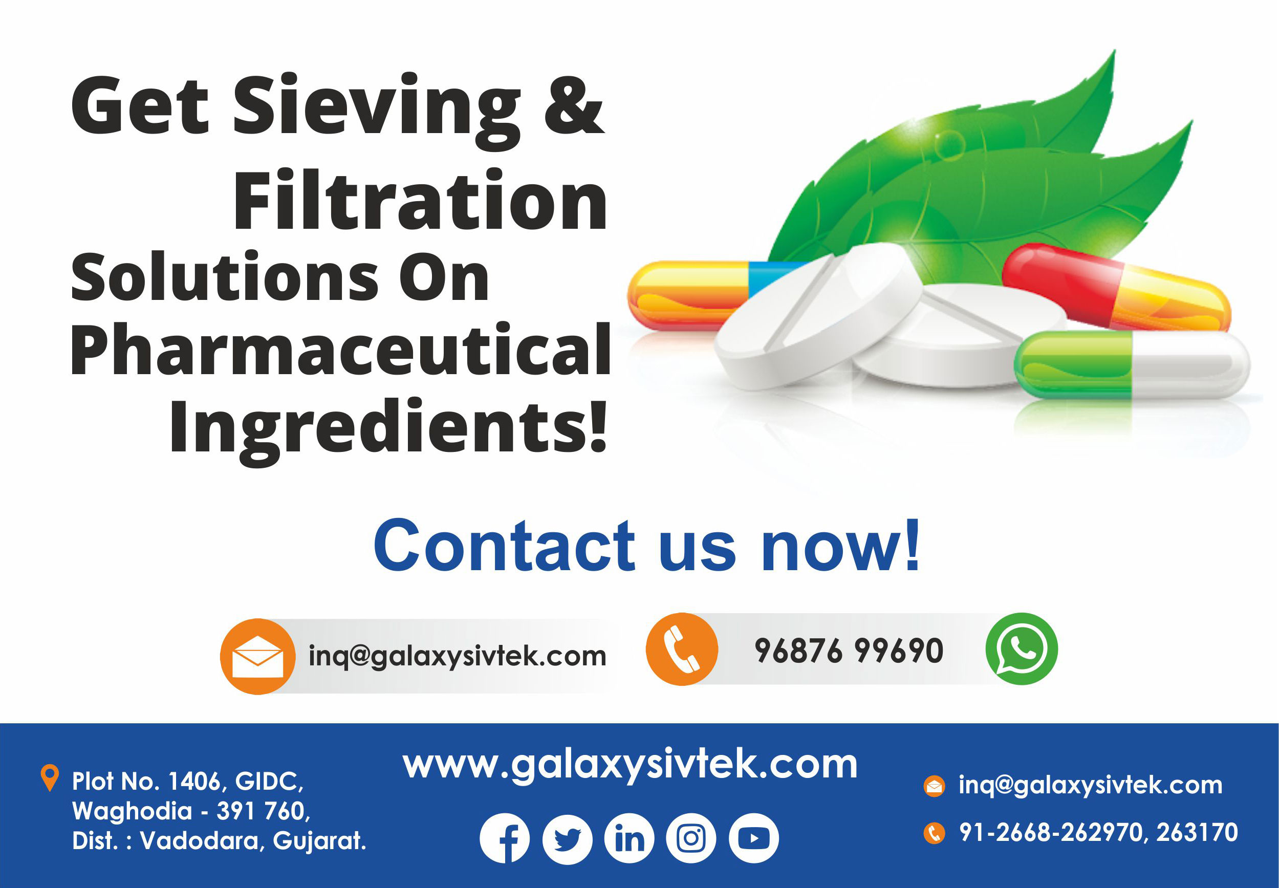 Contact us for pharma sieving equipment
