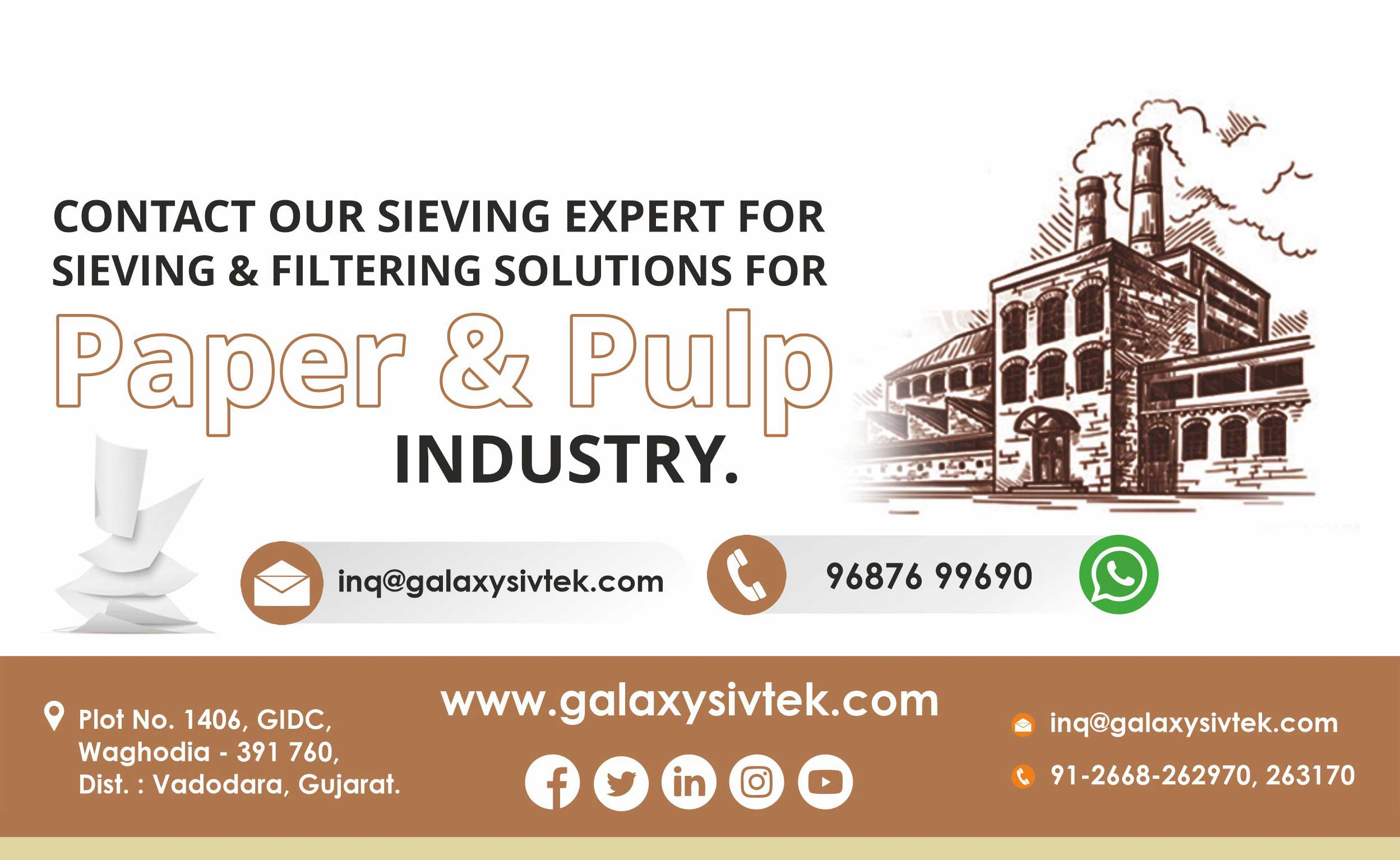 contact for sieving in paper pulp